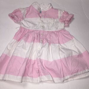 Infant Ralph Lauren pink stripe dress 6 months kid